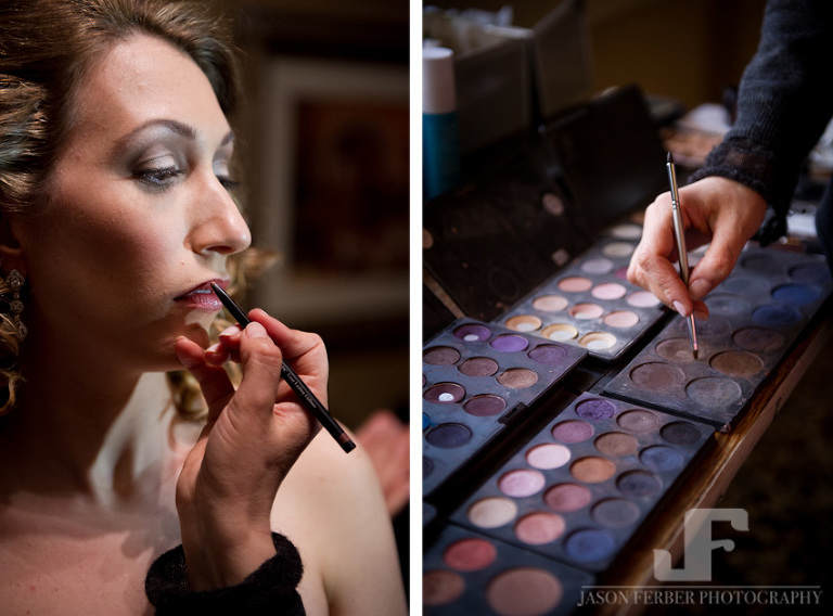 Beautiful bride getting makeup done