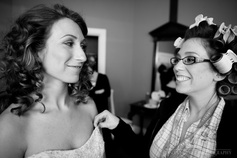 Bride and sister touching moment