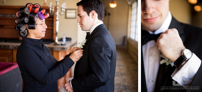Groom and mom touching moment