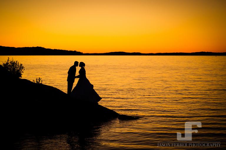 Beautiful couple sunset wedding