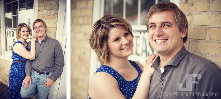 Engaged couple Kitchener porch